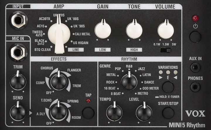 The Vox Showroom The Vox Mini 5 Rhythm Battery Ac Amplifier