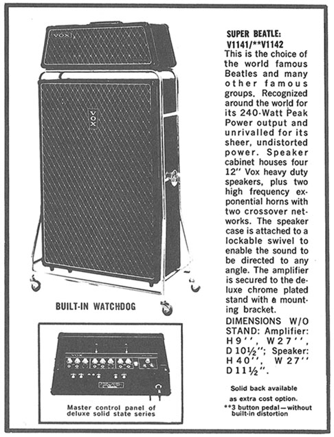 the vox showroom the vox super beatle and beatle amplifiers in vox literature. Black Bedroom Furniture Sets. Home Design Ideas