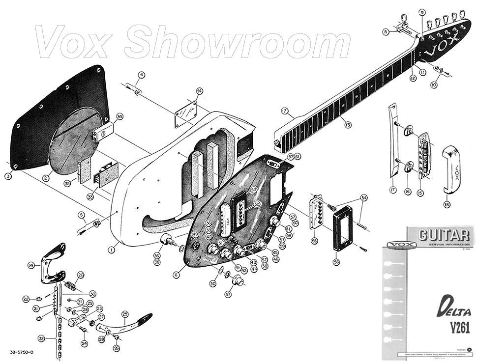 the vox showroom vox v261 delta guitar service manual exploded view. Black Bedroom Furniture Sets. Home Design Ideas